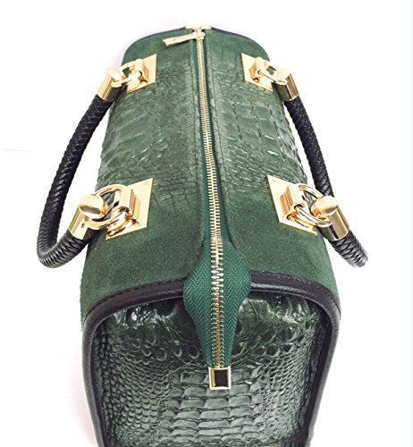 vrai cuir Bauletto Sac Isa Chamois crocodile Vert Superflybags Italy in Croco Modèle Made imprimé en 1wItSpRq