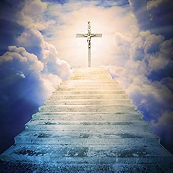 amazon com leowefowa vinyl 6 5x6 5ft the stairs to heaven backdrop photograph background cross of jesus christian holy spirits christ child lord pray church event wallpaper newborn baby children portraits camera leowefowa vinyl 6 5x6 5ft the stairs to heaven backdrop photograph background cross of jesus christian holy spirits christ child lord pray church