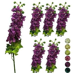 Lily Garden 6PCS Artificial Flowers Silk Delphinium Ajacis Flower for Wedding Home Decor (Purple) 55