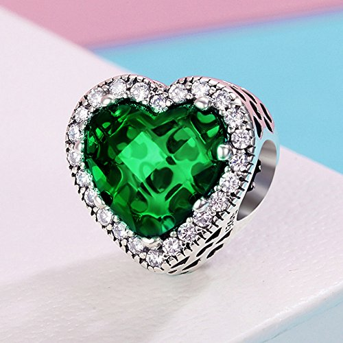 The Kiss Touch of Color Radiant Hearts with CZ 925 Sterling Silver Bead Fits European Charm Bracelet
