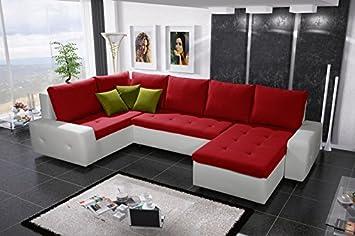 Senseo Bis Extra Gross Kunstleder Und Stoff Ecke Sofa Bett Couch Mit Speicher Schlafplatz Kissen Wohnzimmer