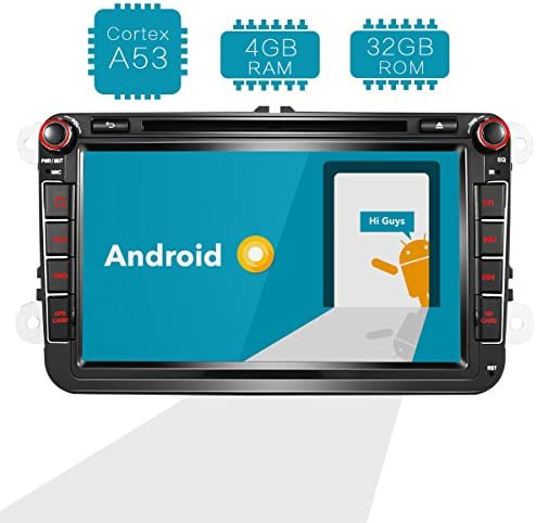 Amaseaudio Android 8.0 Indash Auto Car DVD Radio Player Upgrade 8 Inch Double Din GPS Navigation for VW Tiguan Golf Passat CC Jetta Polo Skoda Seat