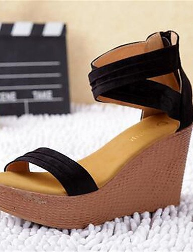 GGX/Damen Schuhe PU Sommer Heels Heels Casual geschoben Ferse andere schwarz black-us6 / eu36 / uk4 / cn36