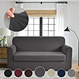 RHF Jacquard Stretch 2-Piece Sofa Cover, 2-Piece Slipcover for Leather Couch-Polyester Spandex Sofa Slipcover&Couch cover for dogs, 2-Piece sofa protector(Sofa: Dark Grey)