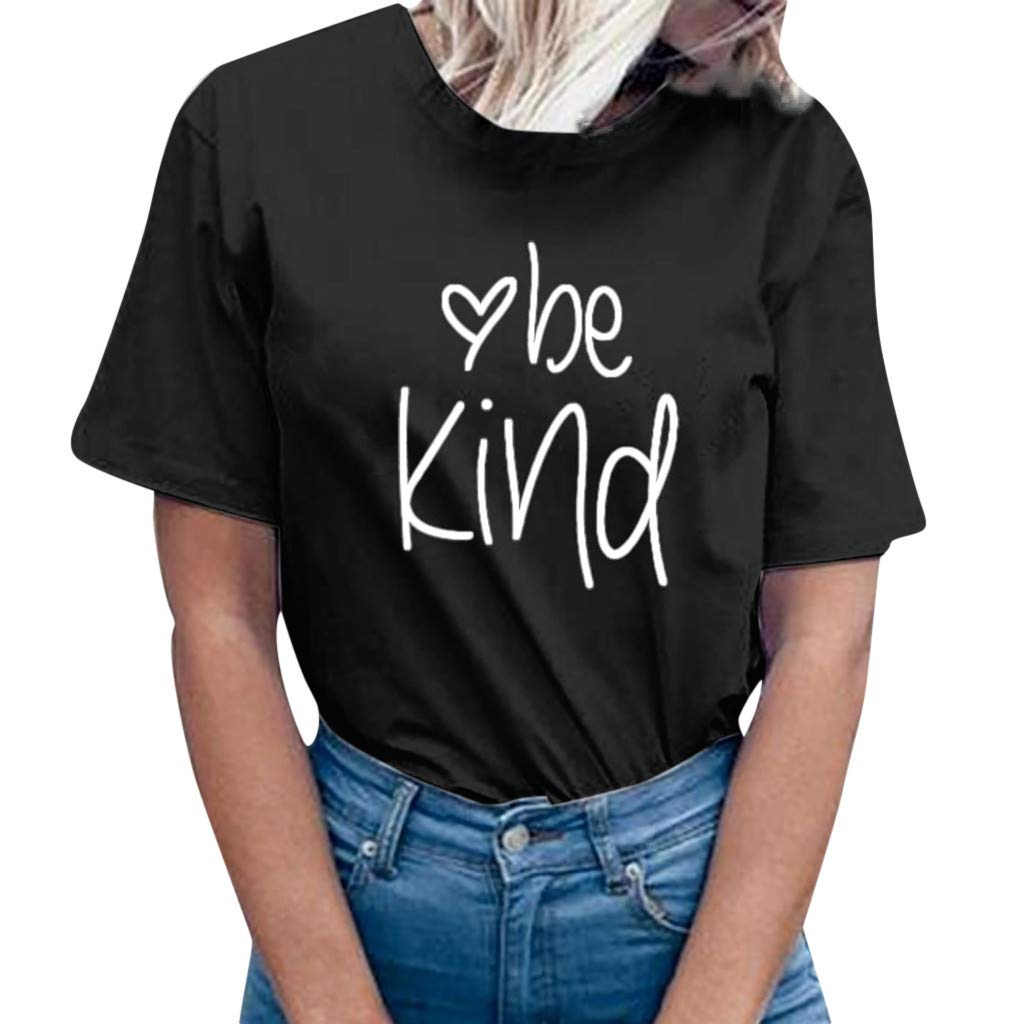 Close-dole Womens Be Kind T Shirt Casual Cotton Short Sleeve V-Neck Graphic T-Shirt Inspirational Letter Printed Tops Tees
