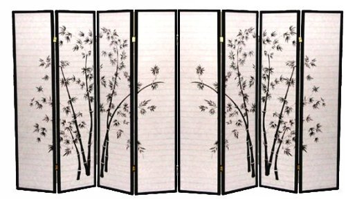 - Legacy Decor 8 Panel Black Bamboo Print Oriental Shoji Screen/Room Divider