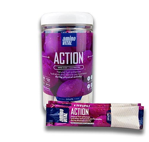 Amino VITAL Action – Vegan Amino Acid Powder (BCAAs, Glutamine, Arginine) + Electrolytes -Natural Supplement, Keto Friendly, Prevent Fatigue, Reduce Soreness, Grape, 14 x 6.4g Single-Serve Stick Packs Review