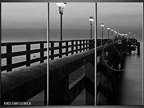 Orologi Da Parete In Tela : Tlg tela foto orologio da parete notte pier ponte aussicht