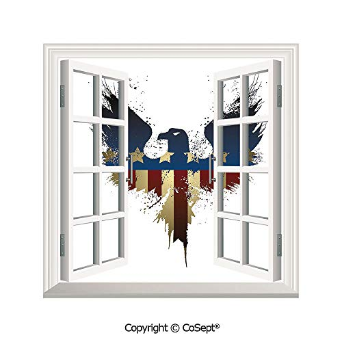 Artificial Window Wall Applique Landscape Wall Decoration,The American Flag on Silhouette of National Bird of the Country Majestic Animal Decorative,Window Decorative Decals Interior(26.65x20 inch)
