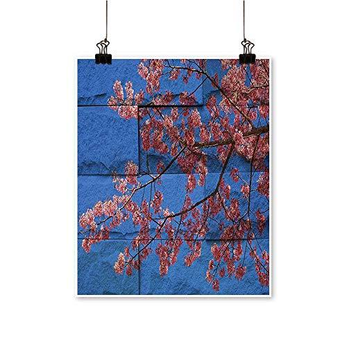 Wall Art Thai Sakura Blossom Mural Branch Flowers SPR Beauty Blue for Hallway Bathroom,24