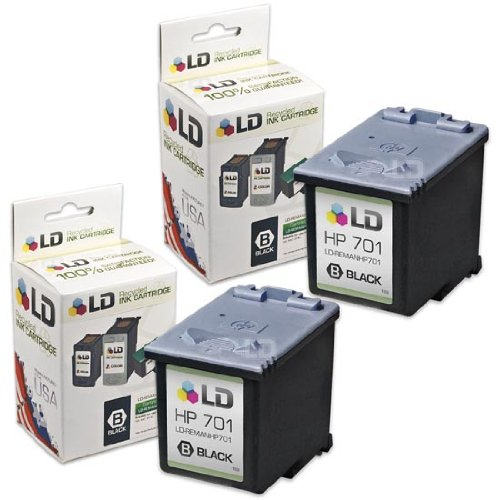 LD Remanufactured Replacement Ink Cartridges for Hewlett Packard CC635A (HP 701) Black (2 Pack) for use in the HP FAX 640, HP FAX 650, HP 2140 Fax Printers (Inkjet 2140 Fax)