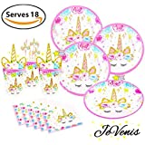 Serves 18 JeVenis Magical Unicorn Party Supplies Set Unicorn Plates Cups Straw Napkin for Birthday Birthday Baby Shower Party Supplies