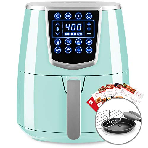 Best Choice Products 4.2qt 8-in-1 Digital Air Fryer Cooking Appliance w 8 Presets, Touch Screen Display, Adjustable Temp, Timer, Non-Stick Basket, Multifunctional Rack, Tongs, Recipes, Seafoam Blue