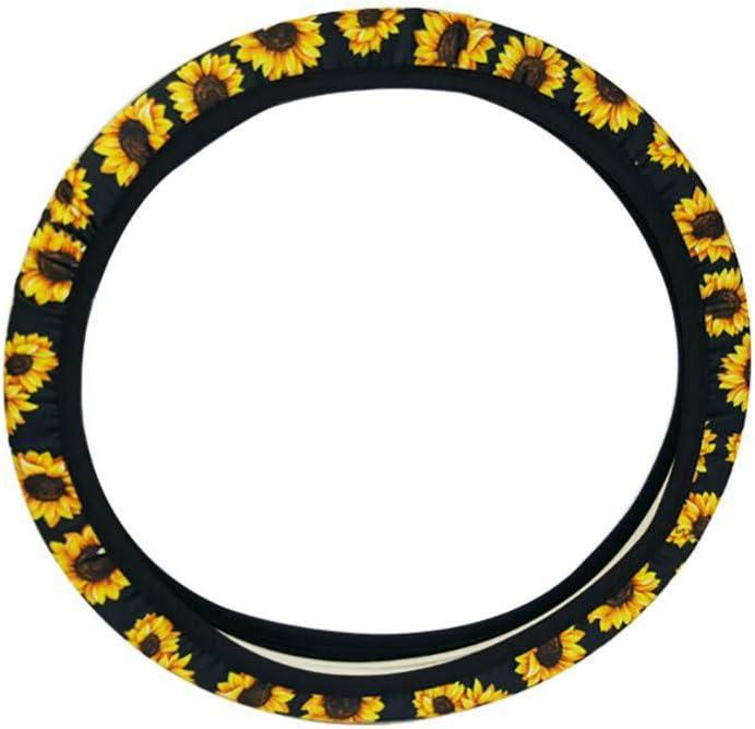 Sunflower Car Steering Wheel Protect Cover,Car Anti-Slip Steering Cover Universal Handle