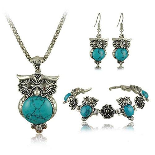 14kt Byzantine Design (G&T European Style Lady Retro Turquoise Jewelry Three Piece Owl Flowers Jewelry(C1))
