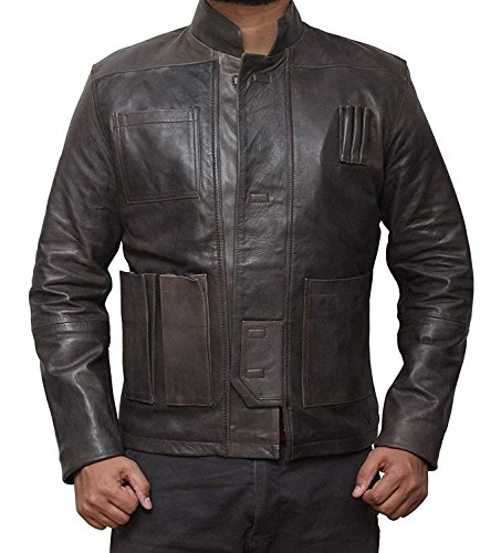 BlingSoul Han Solo Leather Jacket Men - Biker Brown Lambskin Costume Jacket
