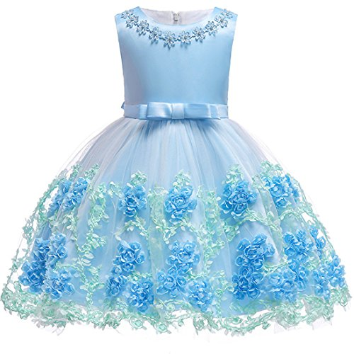 Dresses for Girls 4T Light Sky Blue Wedding Party Lace Dress 3-5 Years Formal Easter Tutu Dresses Sleeveless Flower Ball Gown Knee Length Size 3 4 Children Bridesmaid Dress Cute (Blue 110)