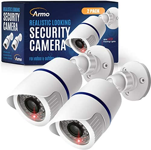 (2 Pack) Fake Security Surveillance Camera Fake CCTV Bullet Camera with Realistic Look Red LED Light Indoor and Outdoor Use, Decoy Camera for Home & Business – by Armo