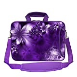 Meffort Inc 15 15.6 inch Purple Color Matching Neoprene Laptop Bag Sleeve with Extra Side Pocket, Soft Carrying Handle & Removable Shoulder Strap - Neon Flower
