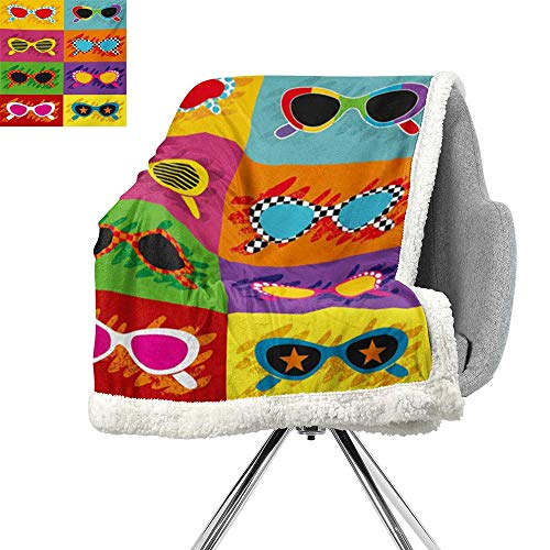 ScottDecor 70s Party Light Thermal Blanket,Pop Art Style Sunglasses Vibrant Colorful Combination Summer Season Fun Artwork,Multicolor,Warm Breathable Comforter for Girls Kids Adults W59xL78.7 -
