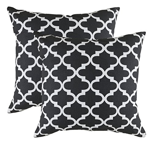 TreeWool, Cotton Canvas Trellis Accent Decorative Throw Pillowcases (2 Cushion Covers; 16 x 16 Inches; Black & White)