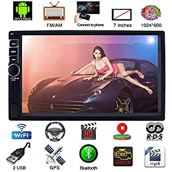 Upgraded 7 Inch Touch Screen Android 7.1 QuadCore CPU Double Din Car Stereo in Dash GPS Navigation Surport Bluetooth WiFi Car Radio Audio Vehicle Headunit ...