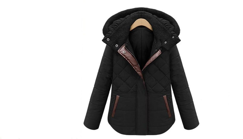 Warm Zip up Jacket Coat (Slant Zipper Design) Outerwear Clothing 4XL Black