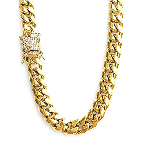 Miami Cuban Link Chain 1ct Diamond Clasp 14K Gold Plated Stainless Steel 10 mm (22) ()