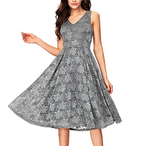 One Sight Women's V neck Lace Dress Vintage Sleeveless Cocktail Party Swing Midi Dress, Gray, - One Sight