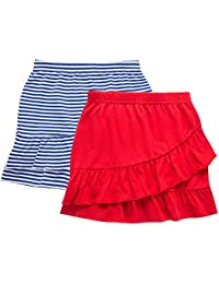 2 Packs Tiered Ruffle Skirt with Elastic Waistband for Girls