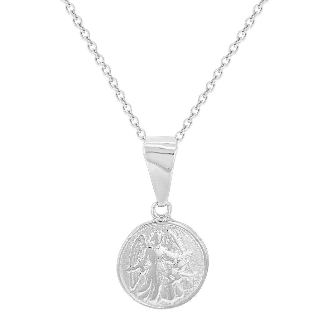 In Season Jewelry - Enfants - Pendentif Collier - Argent 925/1000 - Petit Mé daille Ange Guardien - 40 cm