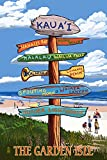 Kaua'i, Hawaii - The Garden Isle - Destinations Sign (24x36 SIGNED Print Master Giclee Print w/ Certificate of Authenticity - Wall Decor Travel Poster)