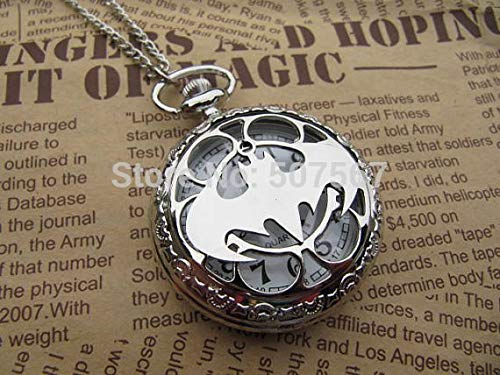(Retro Vintage Bronze Steampunk Silver Titanium Steel Batman Pocket Watch Necklace Mens Jewelry)