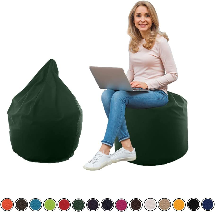 iStyleMode Large Bean Bag Gamer Recliner Outdoor And Indoor Adult Gaming Black - Beanbag Seat Chair (Water And Weather Resistant) (Brown) Bottle Green