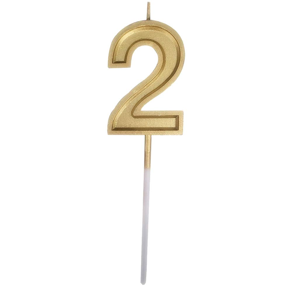 Fxbar, Gold Number Birthday Numeral Candles Cake Decor Birthday Candles 0-9 Molded Number Candlesc (B)
