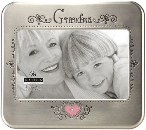 Malden International Designs Serendipity Grandma Metal Shiny Pewter Picture Frame, 4x6, ()