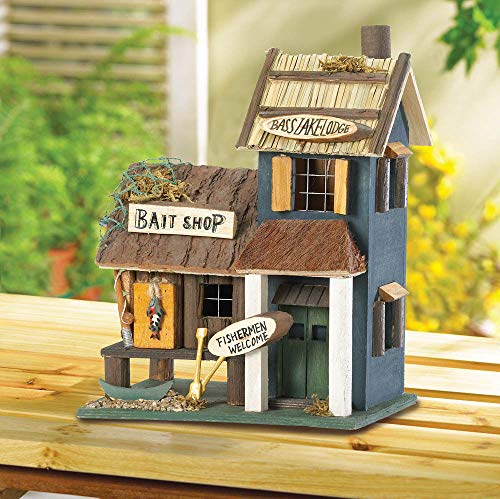 - wakatobi Bass Fishing Tackle Store Bait Shop Wood Fairy Bird House Decorative Birdhouse