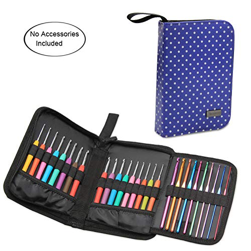 Teamoy Crochet Hook Case, Travel Carry Bag for Ergonomic Crochet Hooks Kits, Aluminum Crochet Hooks, Steel Crochet Hook and More, Lightweight, Well Made-NO Accessories Included, Purple Dots ()