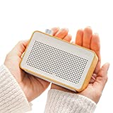 EMIE Minimalist Wooden Portable Bluetooth Speaker, Radio-designed Home Speaker with Super Bass, Works with Apple iPhone, iPad, Samsung and More