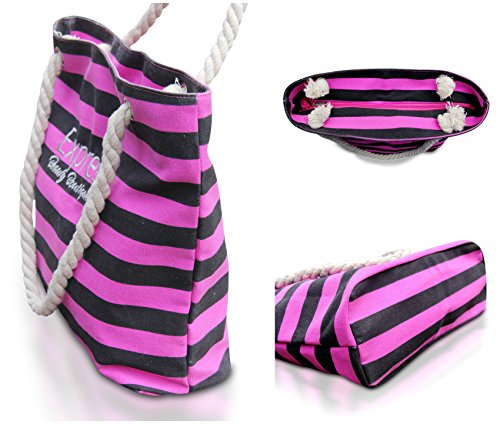 Beach Bag. Black Pink Travel Canvas Tote. Shoulder Handbag Rope Handles for Vacation, Summer.