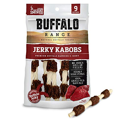 Buffalo Range Rawhide Dog Treats | Healthy, Grass-Fed Buffalo Jerky Raw Hide Chews | Hickory Smoked Flavor | Jerky Kabob, 9 Count ()