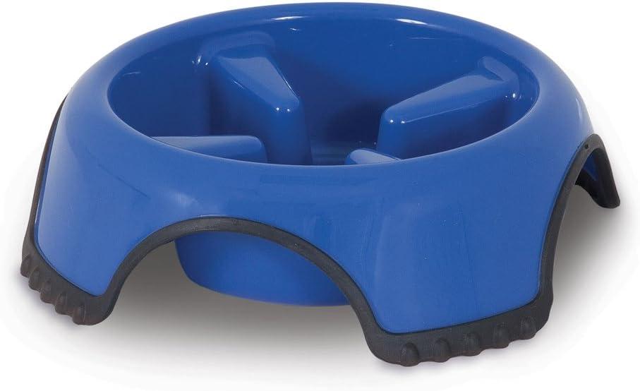 JW Aspen Pet Skid Stop Slow Feed Bowl, Blue, Large (23496)