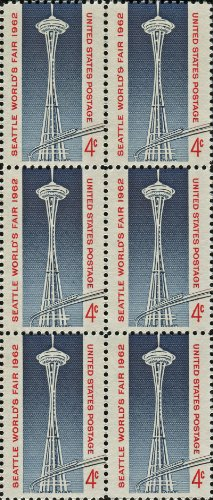 SPACE NEEDLE ~ MONORAIL ~ SEATTLE WASHINGTON ~ WORLD'S FAIR #1196 Block of 6 x 4¢ US Postage Stamps (Worlds Block Fair)