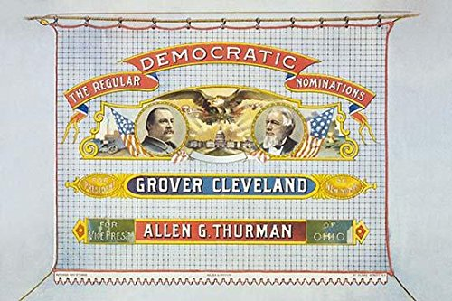 Head-and-shoulders portraits of Grover Cleveland and Allen G Thurman and eagle over US Capitol Poster Print by HA Thomas & Wylie lith (24 x 36)
