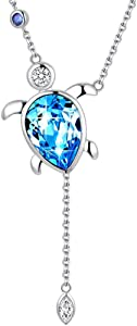 Sweepstakes: MABELLA Blue Sea Turtle Crystal Pendant Necklace Embellished…