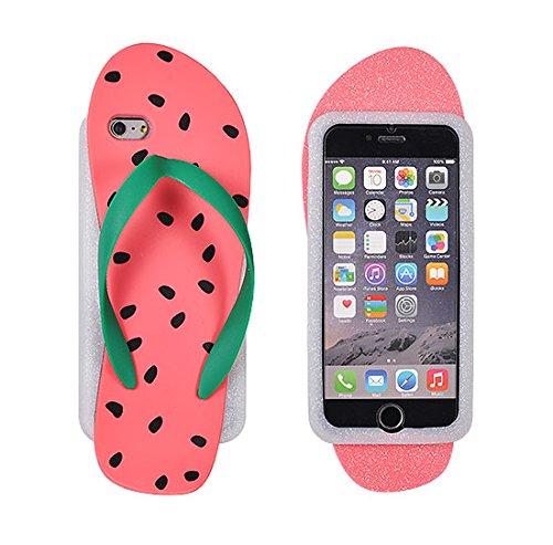 "BACK CASE 3D Wassermelone Flip - Flop rosa für Apple iPhone 6 4,7"" Apple iPhone 6S Hülle Cover Case Schutzhülle Tasche"