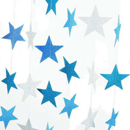 2 Pack Sparkling Star Paper Garland Bunting Banner Hanging Décor for Christmas Wedding Birthday Party Baby Shower(Blue+Silver,12ft ,35pcs)