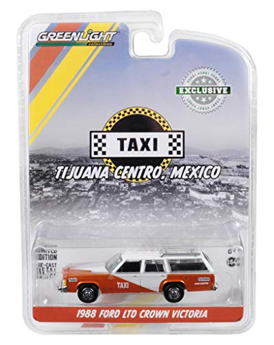 - 1988 Ford LTD Crown Victoria Wagon w/Roof Rack Tijuana Centro, Mexico Taxi Brown and White Hobby Exclusive 1/64 Diecast Car by Greenlight 30026