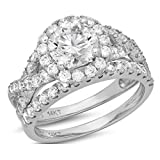 2.6 Ct Round Cut Pave Halo Engagement Wedding Bridal Anniversary Ring Band Set 14K White Gold, Size 9, Clara Pucci