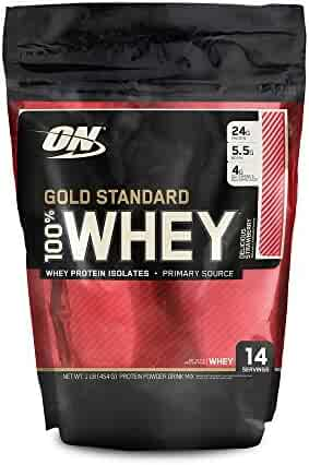 OPTIMUM NUTRITION GOLD STANDARD 100% Whey Protein Powder, Strawberry, 16 Ounce